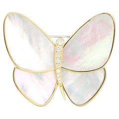 Van Cleef & Arpels Butterly Mother-of-Pearl and Diamond Pin