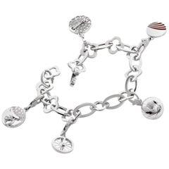 Van Cleef & Arpels Byzantine Alhambra Charms Bracelet in 18 Karat White Gold