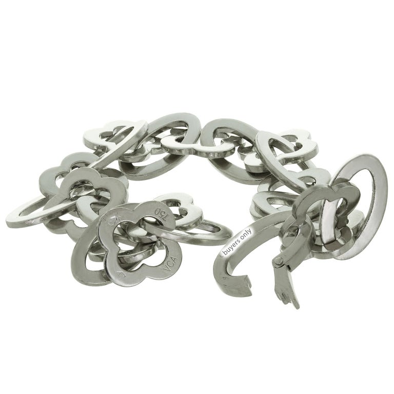 Van Cleef & Arpels Byzantine Alhambra White Gold Link Bracelet In Excellent Condition For Sale In New York, NY