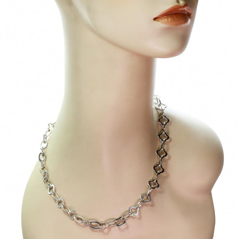 Van Cleef & Arpels Byzantine Alhambra White Gold Link Necklace In Excellent Condition For Sale In New York, NY