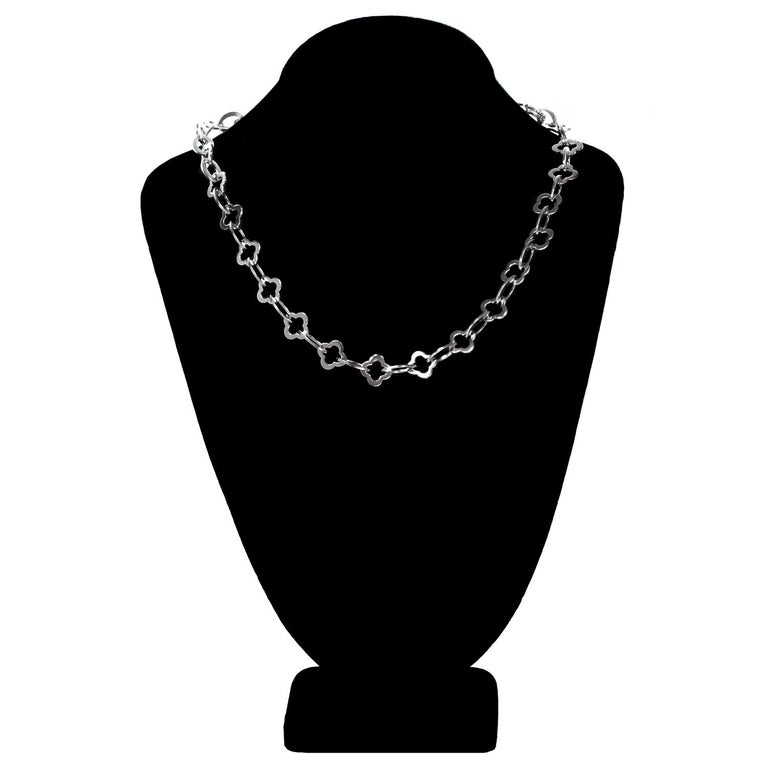 Women's Van Cleef & Arpels Byzantine Alhambra White Gold Link Necklace For Sale