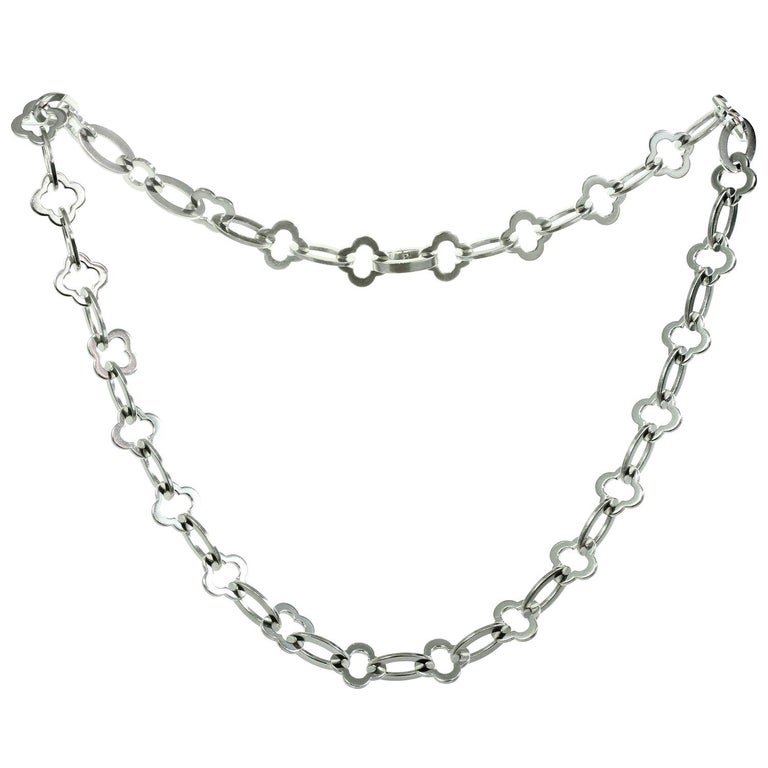 Van Cleef & Arpels Byzantine Alhambra White Gold Link Necklace For Sale