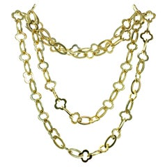 Van Cleef & Arpels Byzantine Alhambra Yellow Gold Long Chain Necklace