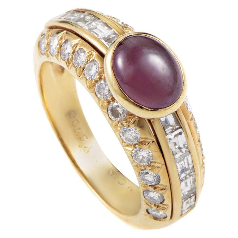 Van Cleef & Arpels Cabochon 2.00 Carat Ruby 1.25 Carat Diamond 18K Gold Ring For Sale