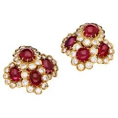 Van Cleef & Arpels, Cabochon Burma Ruby & Diamond Clusters Earrings, circa 1972