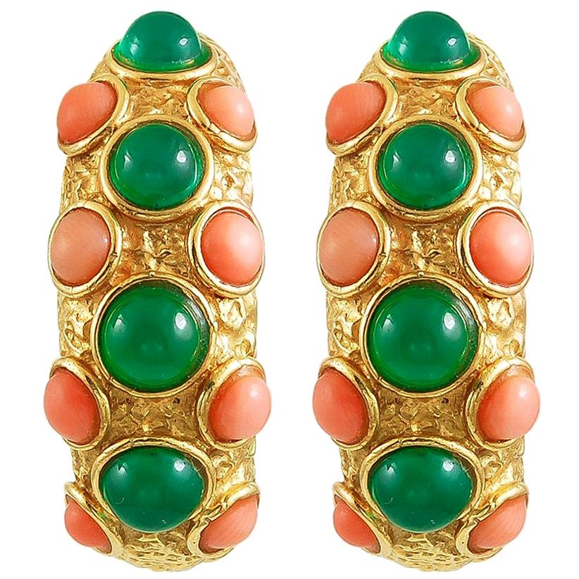 Van Cleef & Arpels Cabochon Coral Chrysoprase Yellow Gold Hoop Ear Clips