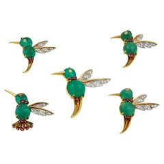 Van Cleef & Arpels Cabochon Emerald, Ruby, Diamond Bird Brooch