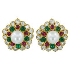 Van Cleef & Arpels Cabochon Rubies, Emerald, Pearl Ear Clips