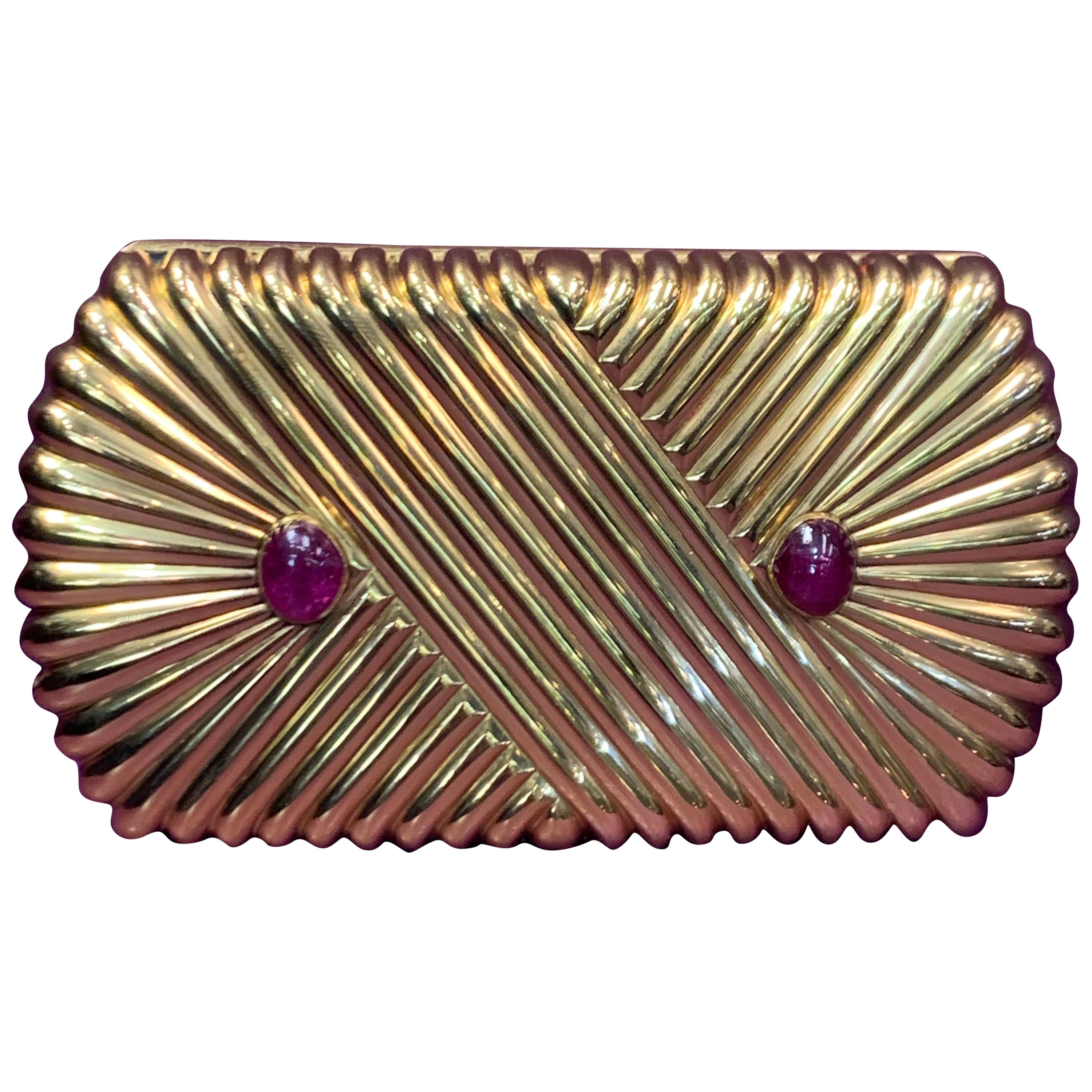 Van Cleef & Arpels Cabochon Ruby and Gold Minaudiere