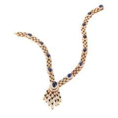 Van Cleef & Arpels Cabochon Sapphire Diamond Necklace Bracelet Earring Set