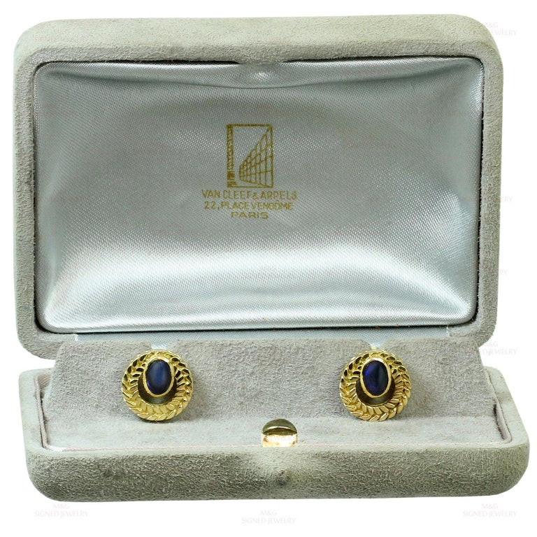 Van Cleef & Arpels Cabochon Sapphire Gold Cufflinks Great Father's Day Gift For Sale 3