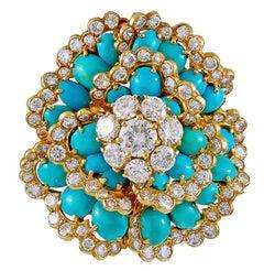 Van Cleef & Arpels  Cabochon Turquoise Diamond Camelia Brooch