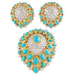 VAN CLEEF & ARPELS Diamond Turquoise Retro Poire Suite