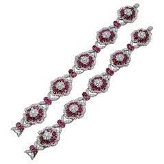 Van Cleef & Arpels Camellia Ruby Convertible Bracelet Pair