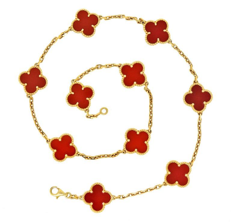 Van Cleef & Arpels Carnelian 18 Karat Yellow Gold Vintage Alhambra Necklace 5