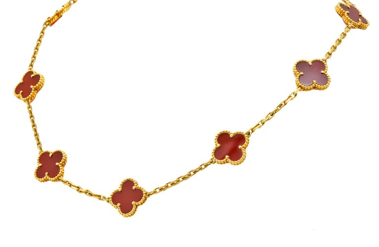Contemporary Van Cleef & Arpels Carnelian 18 Karat Yellow Gold Vintage Alhambra Necklace