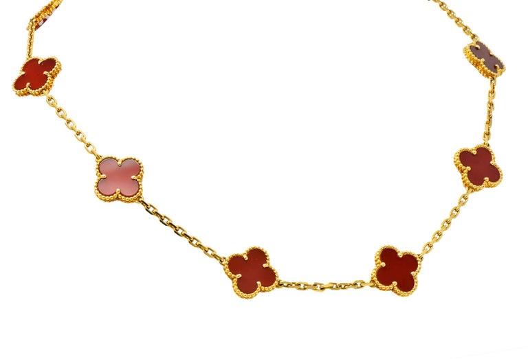 Van Cleef & Arpels Carnelian 18 Karat Yellow Gold Vintage Alhambra Necklace In Excellent Condition In Philadelphia, PA