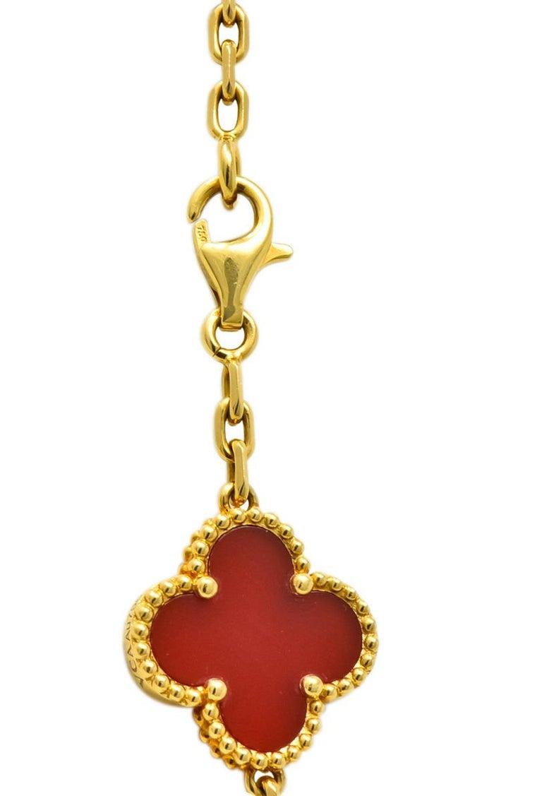 Van Cleef & Arpels Carnelian 18 Karat Yellow Gold Vintage Alhambra Necklace 1