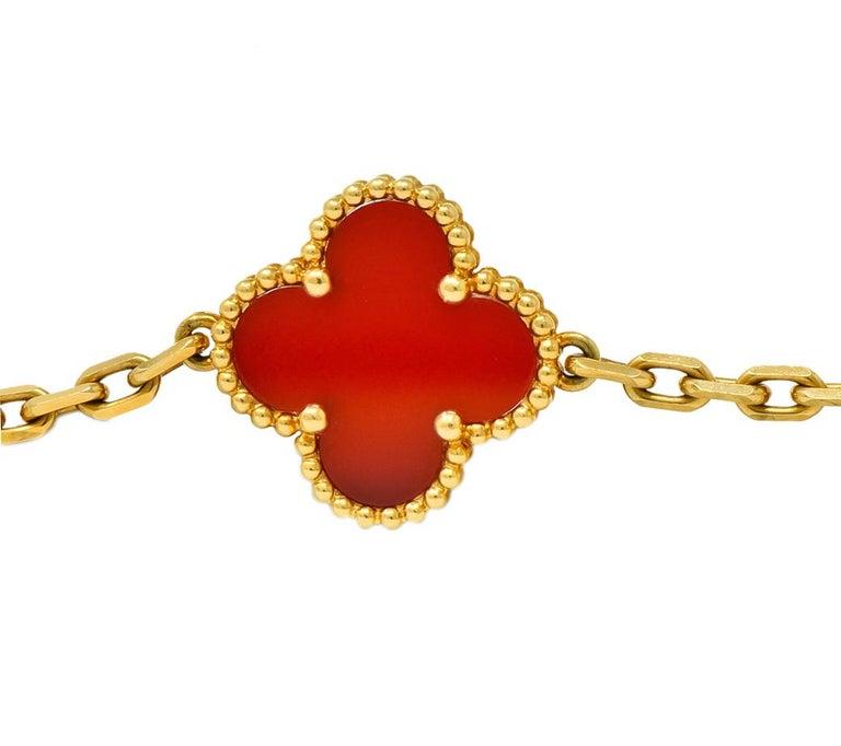 Van Cleef & Arpels Carnelian 18 Karat Yellow Gold Vintage Alhambra Necklace 2