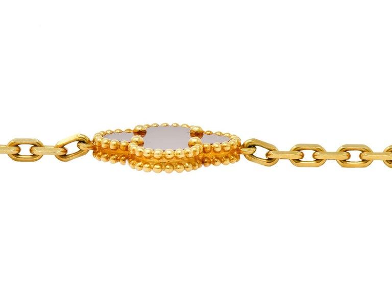 Van Cleef & Arpels Carnelian 18 Karat Yellow Gold Vintage Alhambra Necklace 3