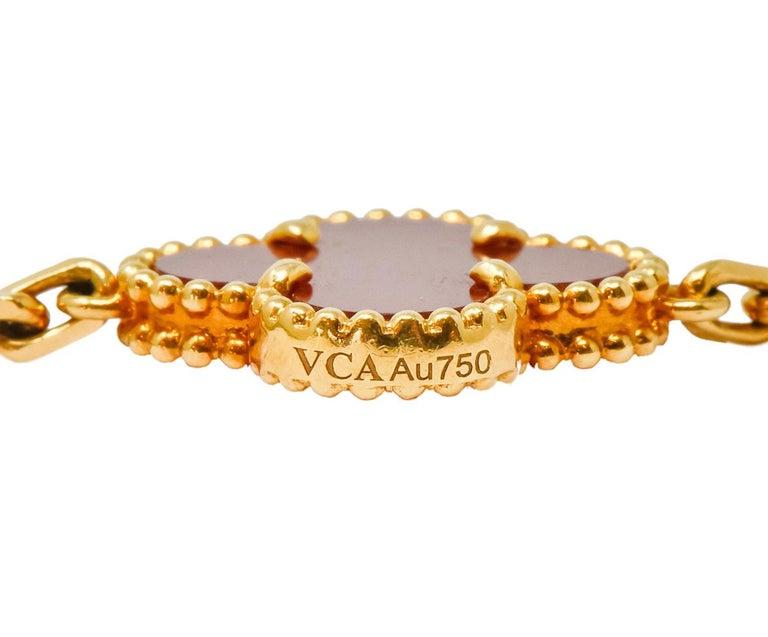 Van Cleef & Arpels Carnelian 18 Karat Yellow Gold Vintage Alhambra Necklace 4