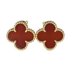 Van Cleef & Arpels Carnelian Alhambra 18 Karat Yellow Gold Earrings