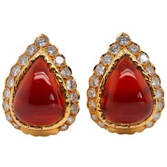 Van Cleef & Arpels Carnelian and Diamond Vintage Earrings