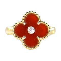 Van Cleef & Arpels Carnelian Diamond Alhambra Ring
