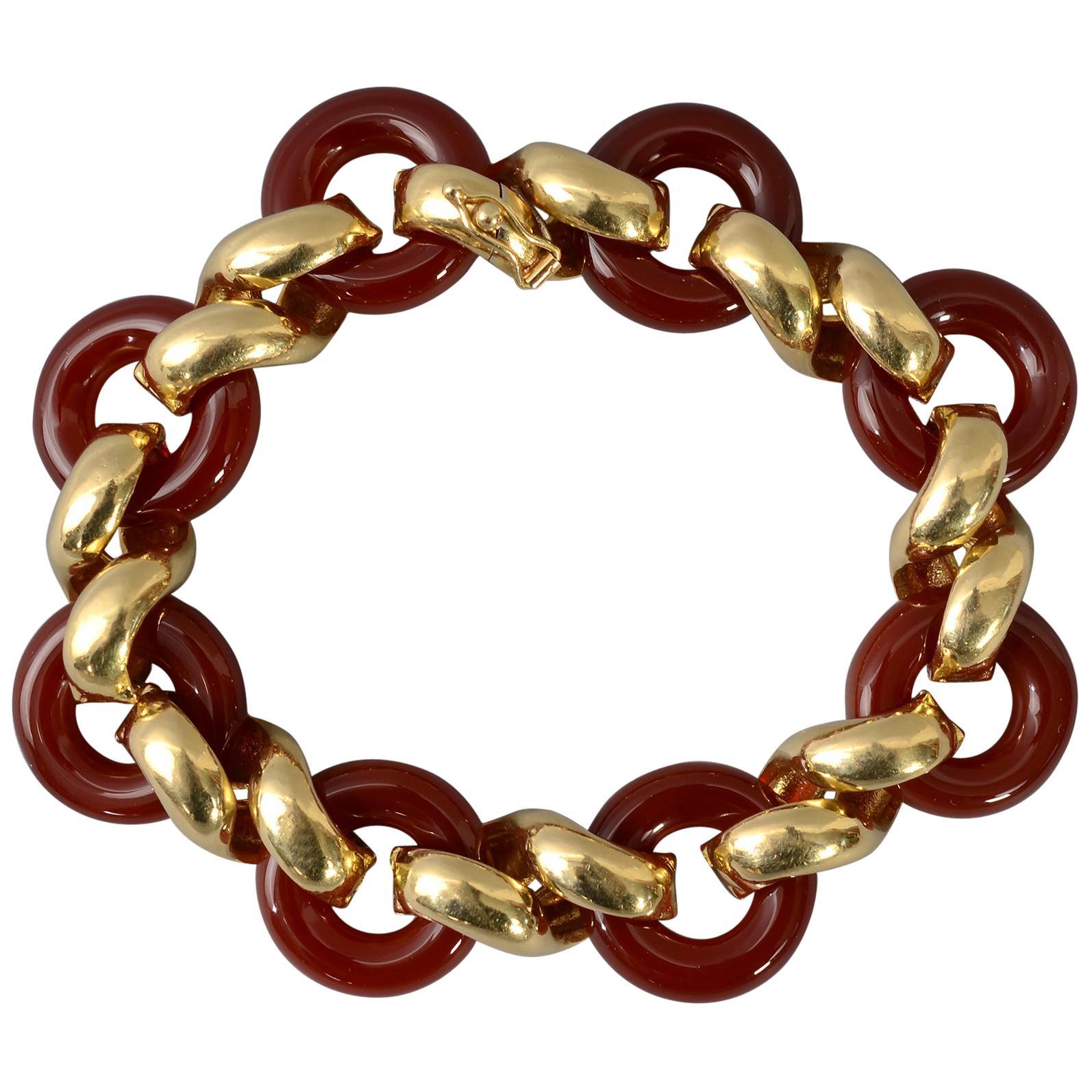 Van Cleef & Arpels Carnelian Gold Bracelet