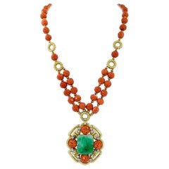 Van Cleef & Arpels Carved Coral Beads, Jade, Diamond Necklace