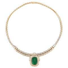 Van Cleef & Arpels Carved Emerald and Diamond Necklace