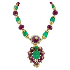 Van Cleef & Arpels Carved Emerald Ruby Convertible Suite