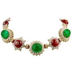 Van Cleef & Arpels Carved Emerald, Ruby, Diamond Necklace-Bracelet Combination