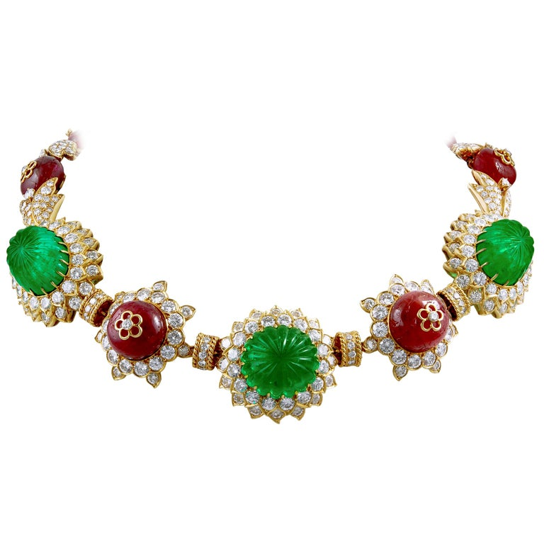 Van Cleef & Arpels Carved Emerald, Ruby, Diamond Necklace-Bracelet Combination For Sale