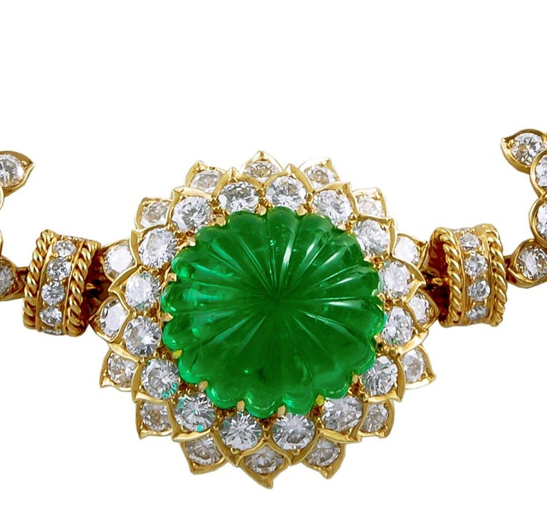 Mixed Cut Van Cleef & Arpels Carved Emerald, Ruby, Diamond Necklace-Bracelet Combination For Sale