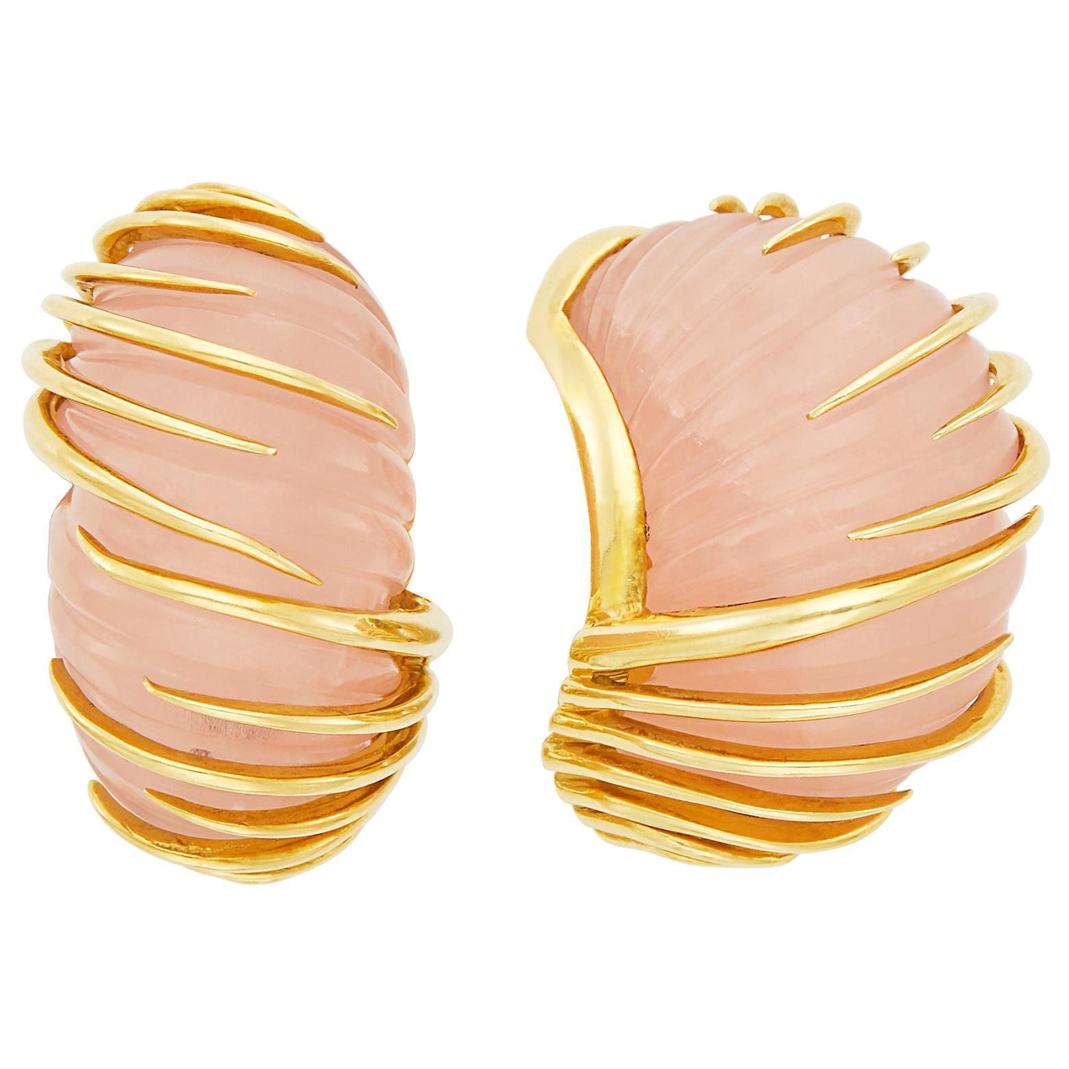 Van Cleef & Arpels Carved Rose Quartz Earrings in 18 Karat Yellow Gold