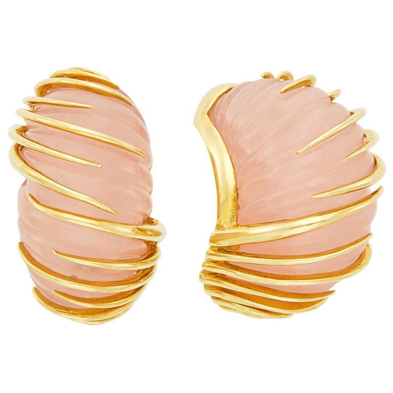 Van Cleef & Arpels Carved Rose Quartz Earrings in 18 Karat Yellow Gold For Sale