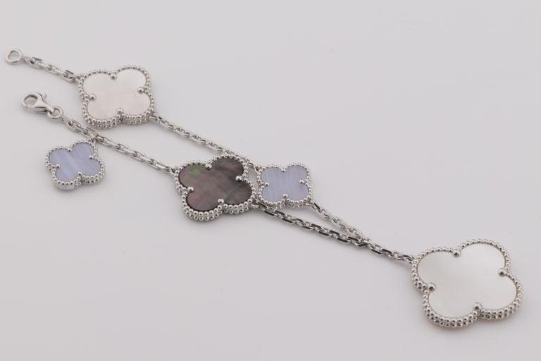 Uncut Van Cleef & Arpels Chalcedony Mother-of-pearl Magic Alhambra Bracelet