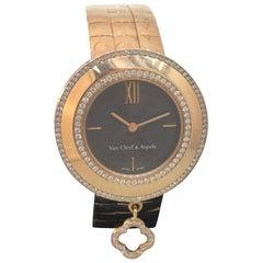 Van Cleef & Arpels Charms Rose Gold Diamond Bezel Brown Dial Bracelet Watch New