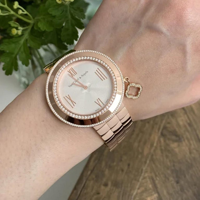 Van Cleef & Arpels Charms Rose Gold Diamond Quartz Watch VCARN5LF00 For Sale 5