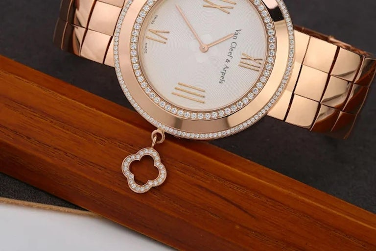 Van Cleef & Arpels Charms Rose Gold Diamond Quartz Watch VCARN5LF00 In Excellent Condition For Sale In Banbury, GB