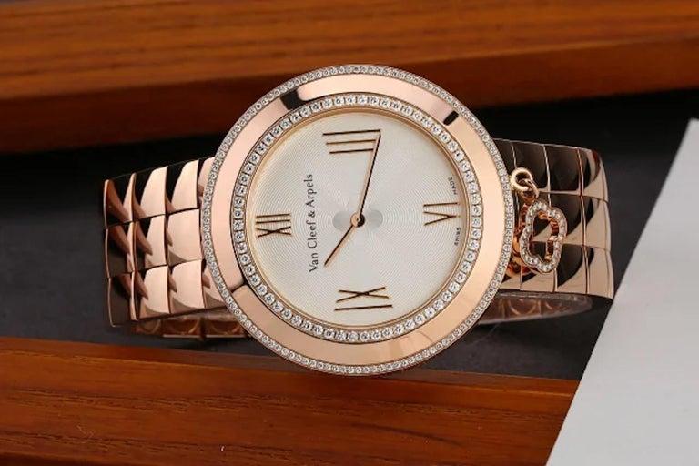 Van Cleef & Arpels Charms Rose Gold Diamond Quartz Watch VCARN5LF00 For Sale 2