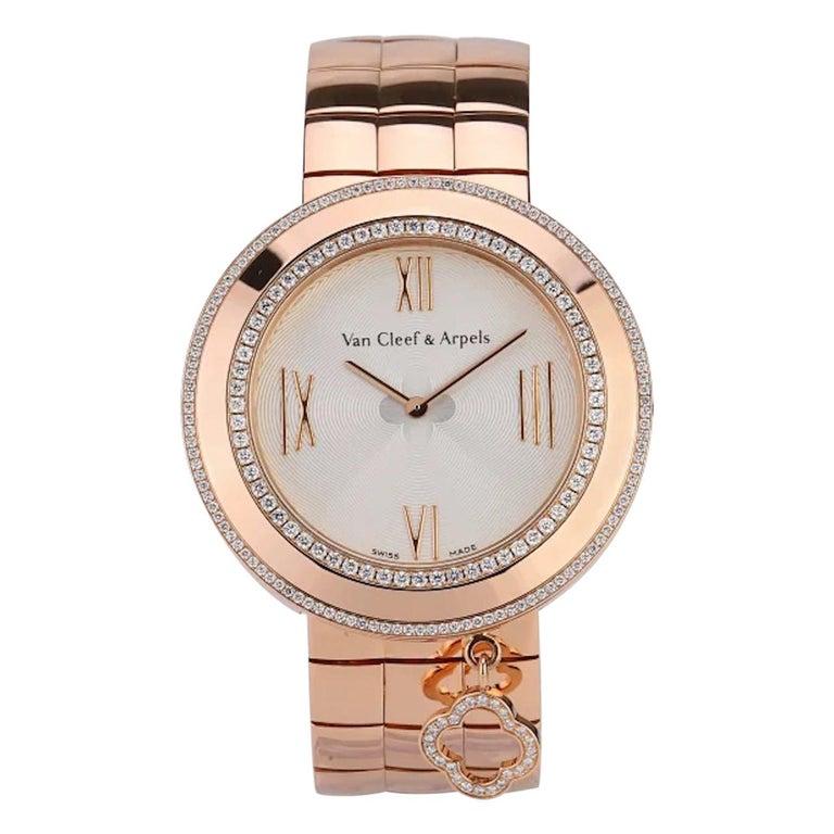 Van Cleef & Arpels Charms Rose Gold Diamond Quartz Watch VCARN5LF00 For Sale