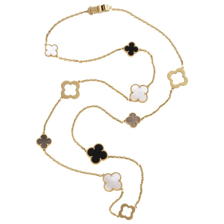 Van Cleef & Arpels & Chloe, a Rare, Limited-Edition 18K Gold Alhambra Necklace For Sale