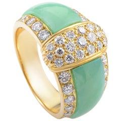 Van Cleef & Arpels Chrysoprase Diamond Gold Ring