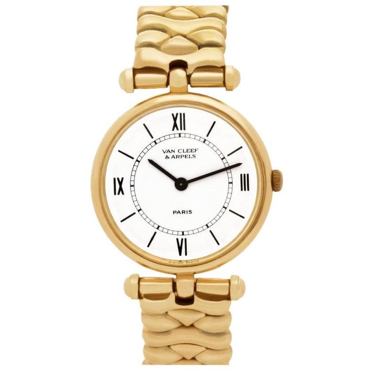 Van Cleef & Arpels Classic 18601cc1 18 Karat Quartz Watch For Sale