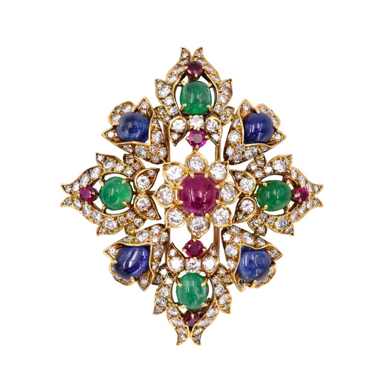 Classic Vintage  Van Cleef & Arpels Diamond, ruby, sapphire & emerald brooch/pendant. Spectacular colorful brooch with 3.32 carats of diamonds, rubies are 4.5 carats, sapphires are 7.5 carats & emeralds are 4 carats. 18k gold Makers' signature VCA &