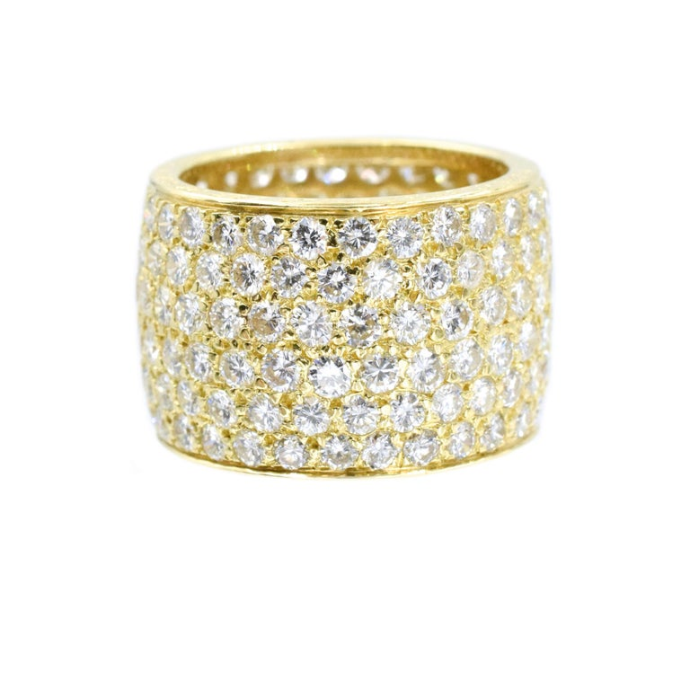 Van Cleef and Arpels  Wide Pave Diamond Band Containing 180 Pave Set Round Brilliant Cut Diamonds  Set In 18 Karat Golden Total diamond Weight is 7.75 Carats  Hand Inscribed: Van Cleef and Arpels  NY XXXXXX. Size 6.5 Width is:  13.5mm or 0.57 1.4cm