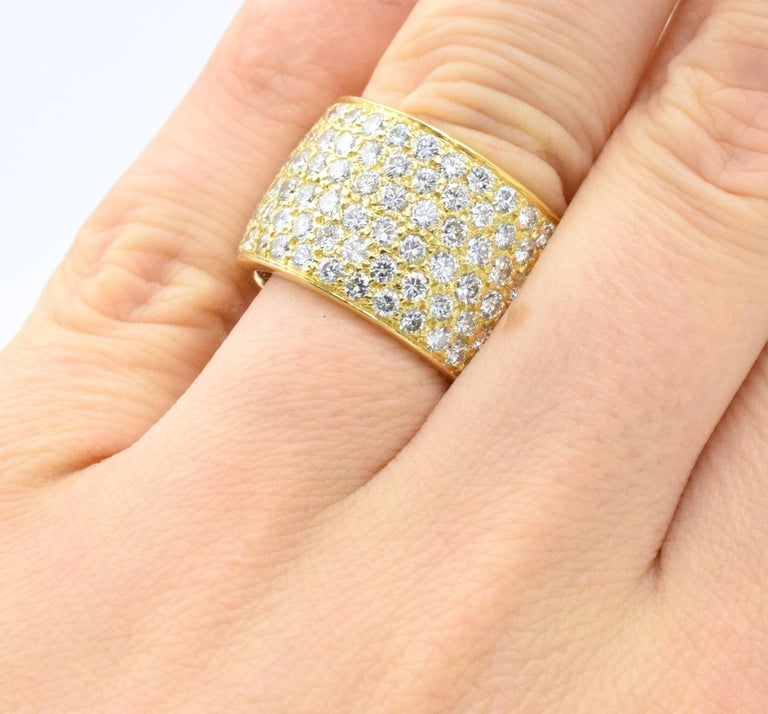 Contemporary Van Cleef & Arpels Classic Wide Diamond Gold Band For Sale