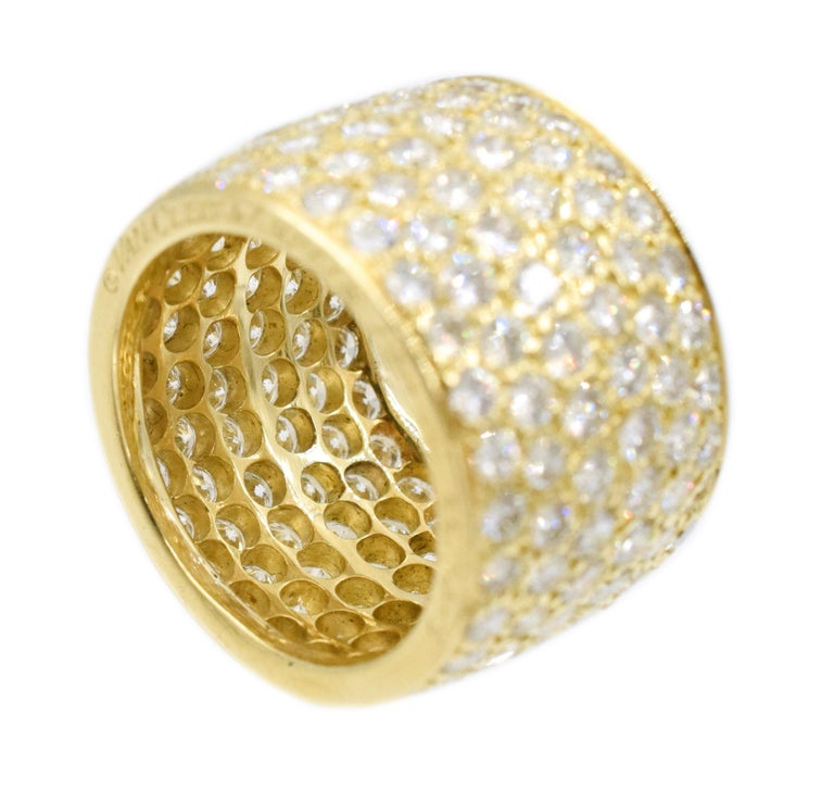 Van Cleef & Arpels Classic Wide Diamond Gold Band For Sale 2